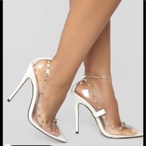 Shoes - Clear Gold Spiked Pumps!